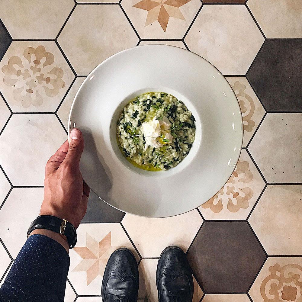 Risotto spinacino e burrata affumicata - Filodolio ristorante roma